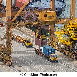 cargaison, chargement, récipient, fonctionnement, pont, chantier naval, bateau fret, grue