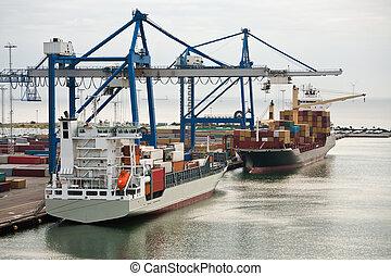 cargaison, commencement matin, port maritime