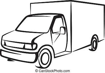 cargaison, concept, truck., illustration