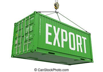 cargaison, container., -, exportation, pendre, vert