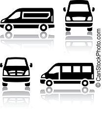 cargaison, ensemble, fourgon, icônes, -, transport