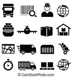 cargaison, expédition, icônes