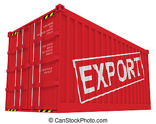 cargaison, exportation, blanc, récipient, isolé