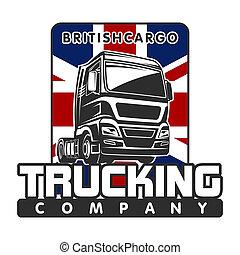 cargaison, gabarit, britannique, camion, fret, logo
