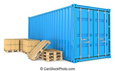cargaison, goods., récipient