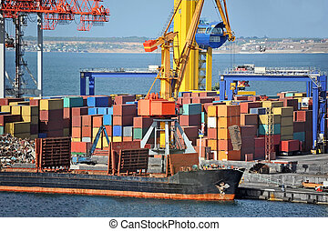 cargaison, grue, bateau