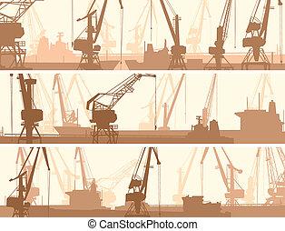 cargaison, grue, port, tower.
