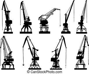 cargaison, grue, vecteur, tower.