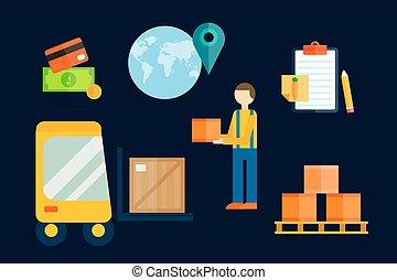 cargaison, illustration., symboles, vecteur, exportation, importation