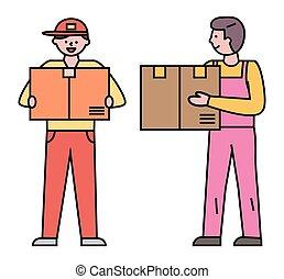 cargaison, livraison, boîtes, ordres, courriers