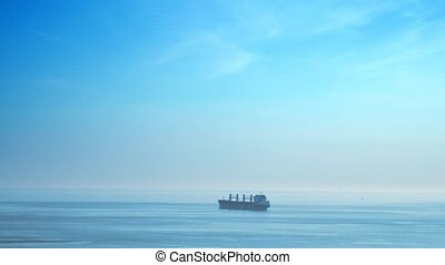 cargaison, loin, en mouvement, sea., bateau