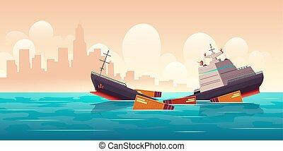 cargaison, naufrage, vaisseau, naufrage, bateau, océan