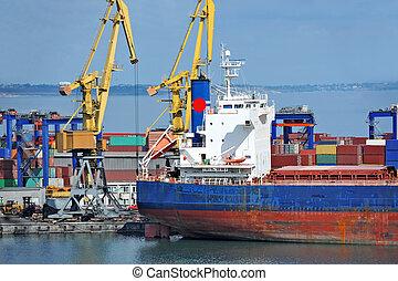 cargaison, port, masse, sous, bateau, grue