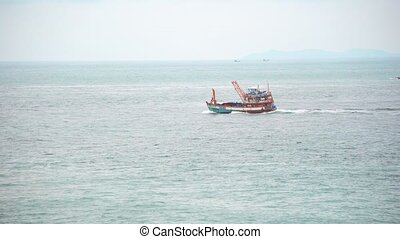 cargaison, porter, mer, entre, petit, îles, bateau, voiles, travers