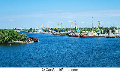cargaison, rivière, port