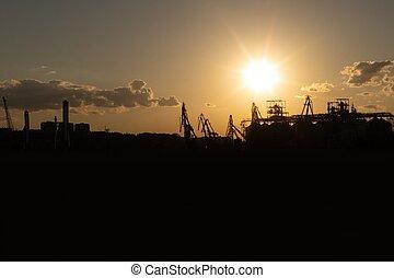 cargaison, silhouette, côte, mer noire, port