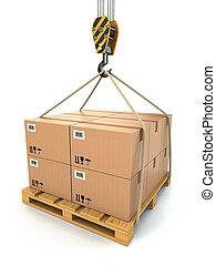 cargaison, soulevé, delivery., palette, crane., cartons