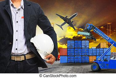 cargaison, terre, récipient, fonctionnement, freig, dock, logistique, homme
