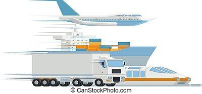 cargaison, transport, fret, logistique, distributeur, art