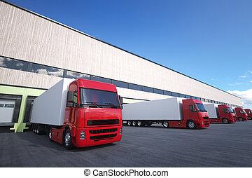 cargaison, truck., déchargement