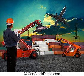 cargaison, usage, terre, récipient, fonctionnement, jet, voler, ciel, expédition, air, business, avion, sombre, gare marchandises, homme, logistique, transport, au-dessus