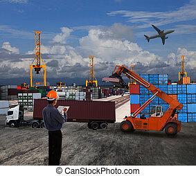 cargaison, usage, terre, récipient, fonctionnement, scène, dock, thème, commerce, officier, logistique, importation, mondiale, exportation, transport, homme