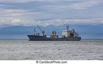 cargaison, voile, navire porte-conteneurs, grand