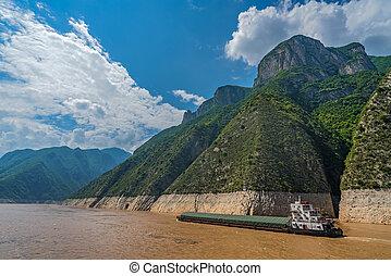 cargo, gorge, rivière, yangtze, voile, par
