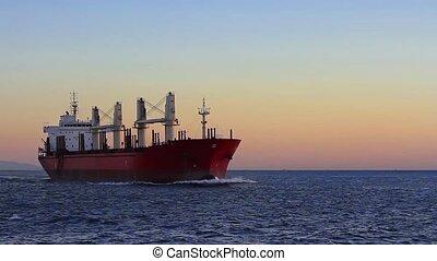 cargo, mer ouverte, voile