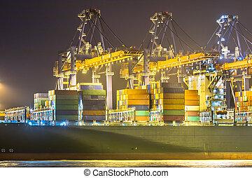 cargo, porteur, nuit, pont