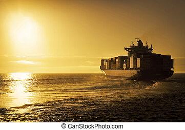 cargo, récipient, coucher soleil