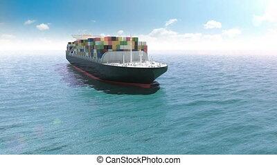 cargo, récipient, mer
