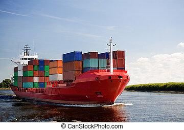 cargo, rivière, récipient