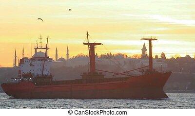 cargo, voiles, coucher soleil, istanbul