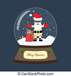 carlin, déguisement, santa, boule de neige, claus