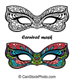 carnaval, coloration, page, masques