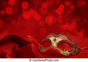 carnaval, vendange, masque, vénitien, fond, rouges