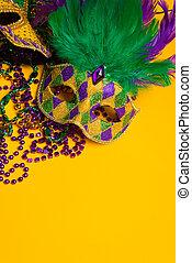 carnivale, fête, vénitien, gras, groupe, masks., coloré, jaune, mardi, ou, masque, arrière-plan.