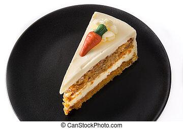 carotte, plaque, gâteau, isolé, couper, arrière-plan., doux, blanc