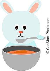 carotte, soupe, blanc, arrière-plan., vecteur, illustration