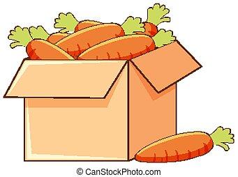 carottes, blanc, boîte, fond