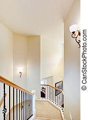 carpet., escalier, grille, métal, grand, beige