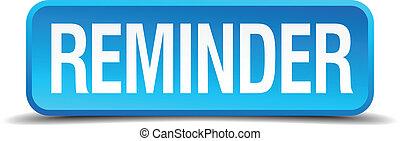 carré bleu, bouton, isolé, réaliste, rappel, 3d