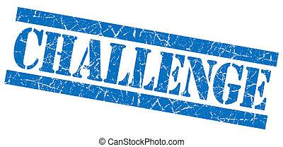 carré bleu, grunge, timbre, défi, isolé, textured, blanc