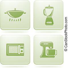 carrée, 2d, set:, icônes, olivine, ustensiles, cuisine