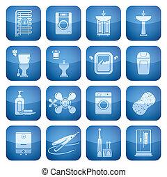 carrée, 2d, set:, salle bains, cobalt, icônes