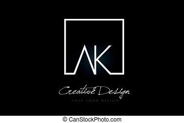 carrée, ak, conception, colors., lettre, logo, blanc, cadre, noir