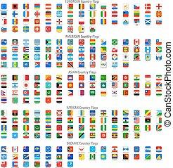 carrée, arrondi, icônes, drapeau national, vecteur