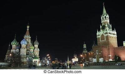 carrée, basil's, moscow., cathédrale, kremlin, rouges