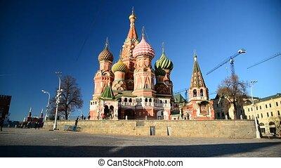carrée, basil's, rue., moscou, cathédrale, russie, rouges
